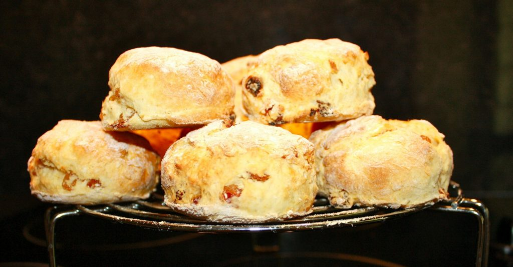 A stack of Irish scones on a trivet.